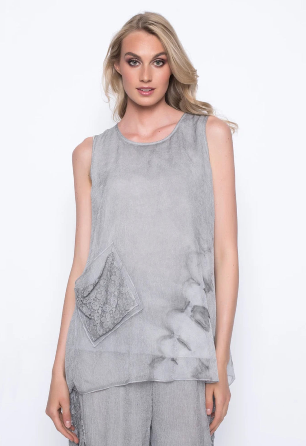 Chiffon Overlay Tank With Side Pockets