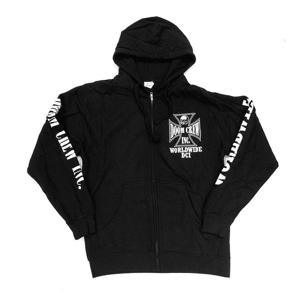 Doom Crew Zip Black And White Men's Hoodie