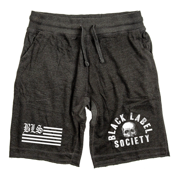 "Black Label Society ""BLS FLAG"" Grey Shorts"