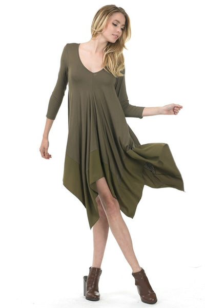 Tunic Dress with Chiffon Hem
