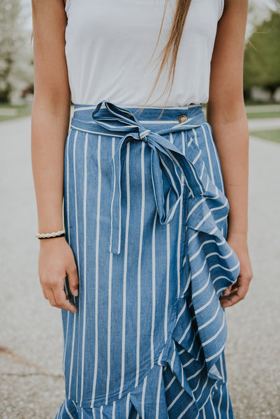 Chambray Ruffle Maxi Skirt | 2 colors!