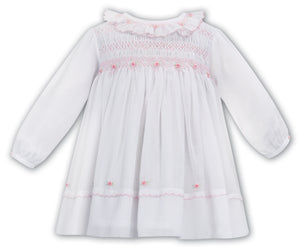 Sarah Louise white/pink voile dress