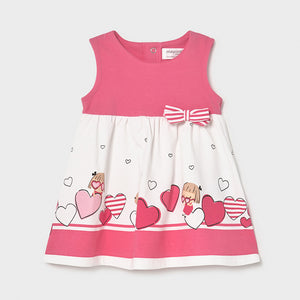 Pink print dress for baby