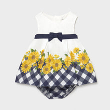 Load image into Gallery viewer, White/navy/yellow baby dress & knickers