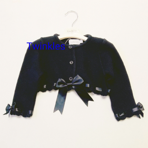 Navy blue bow cardigan