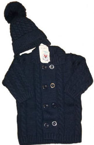 Blue knitted coat & hat