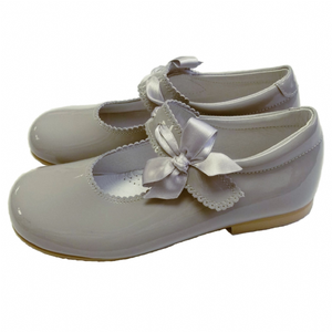 Grey mary jane bow shoes