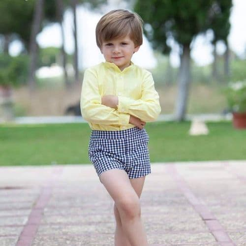 yellow & navy Spanish boys short set