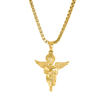 Men Gold Angel Pendant Necklace charm New York London TOronto Vancouver