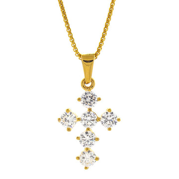 Necklace - 18kt Gold Mini Cross - Tossari  - 1