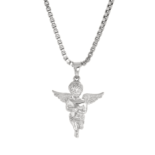 Necklace - Silver Cherub  Baby Angel - Tossari  - 1