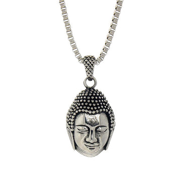 Necklace - Silver Buddha Head - Tossari  - 1