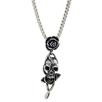 Necklace - Silver Skull N' Roses Necklace - Tossari  - 1