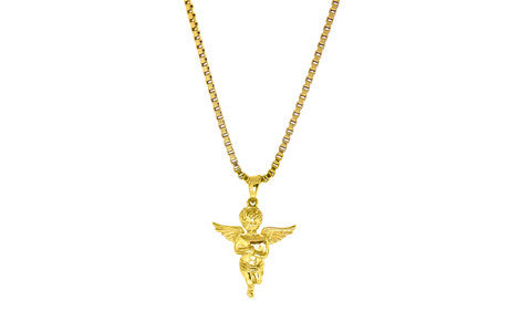 Necklace - 18kt Gold Cherub  Baby Angel - Tossari  - 2
