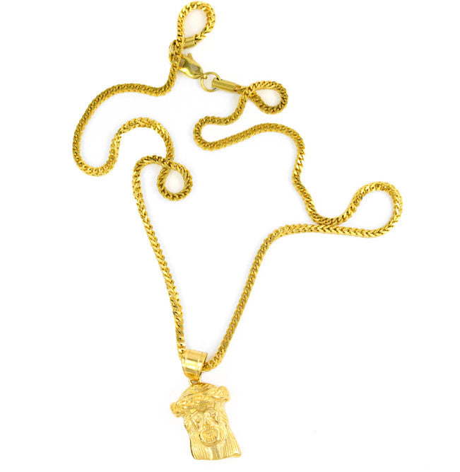 Necklace - 18kt Micro Jesus Piece Necklace
