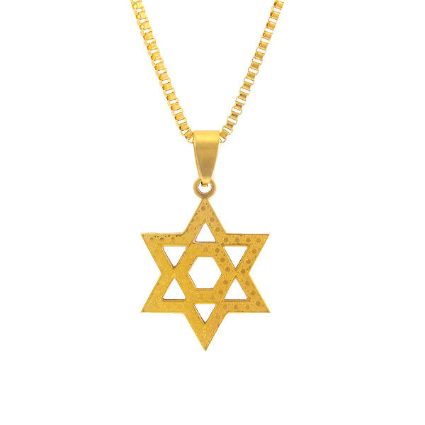 Necklace - 18kt Textured Star of David