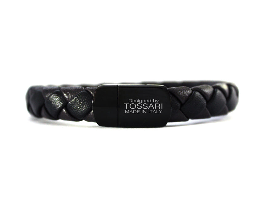 Mens Blacl leather Luxury Bracelet