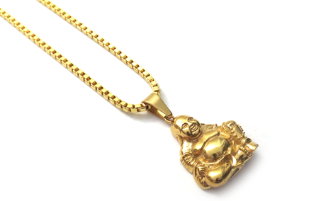 Necklace - 18kt Gold Properity Fat  Buddha - Tossari  - 4