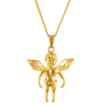 18k Gold Angel Necklace Women Men New York Texas London Uk