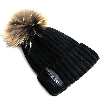 WOMENS BLACK WINTER BEANIE HAT