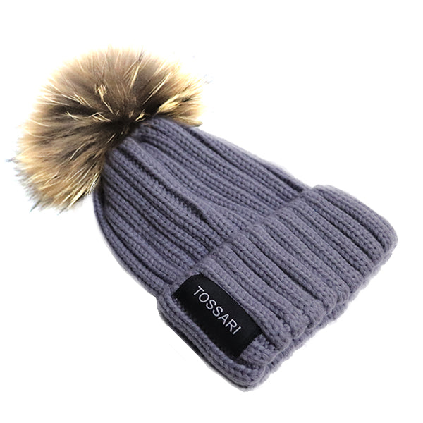 Grey Fur Pompom Beanie Hat