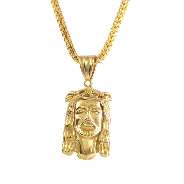 out rope jesus a piece grande micro n products necklace pendant face inch iced goldtone with