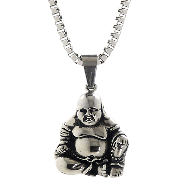 Necklace - Silver Prosperity Fat  Buddha - Tossari  - 1