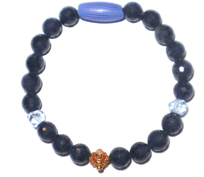 18k Diamond bead and Natural Sapphire bracelet - Musa Jewelry ™