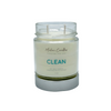 A picture of clean (ocean mist, sea grass, agave nectar and coconut milk) soy wax candle made with cotton wicks.