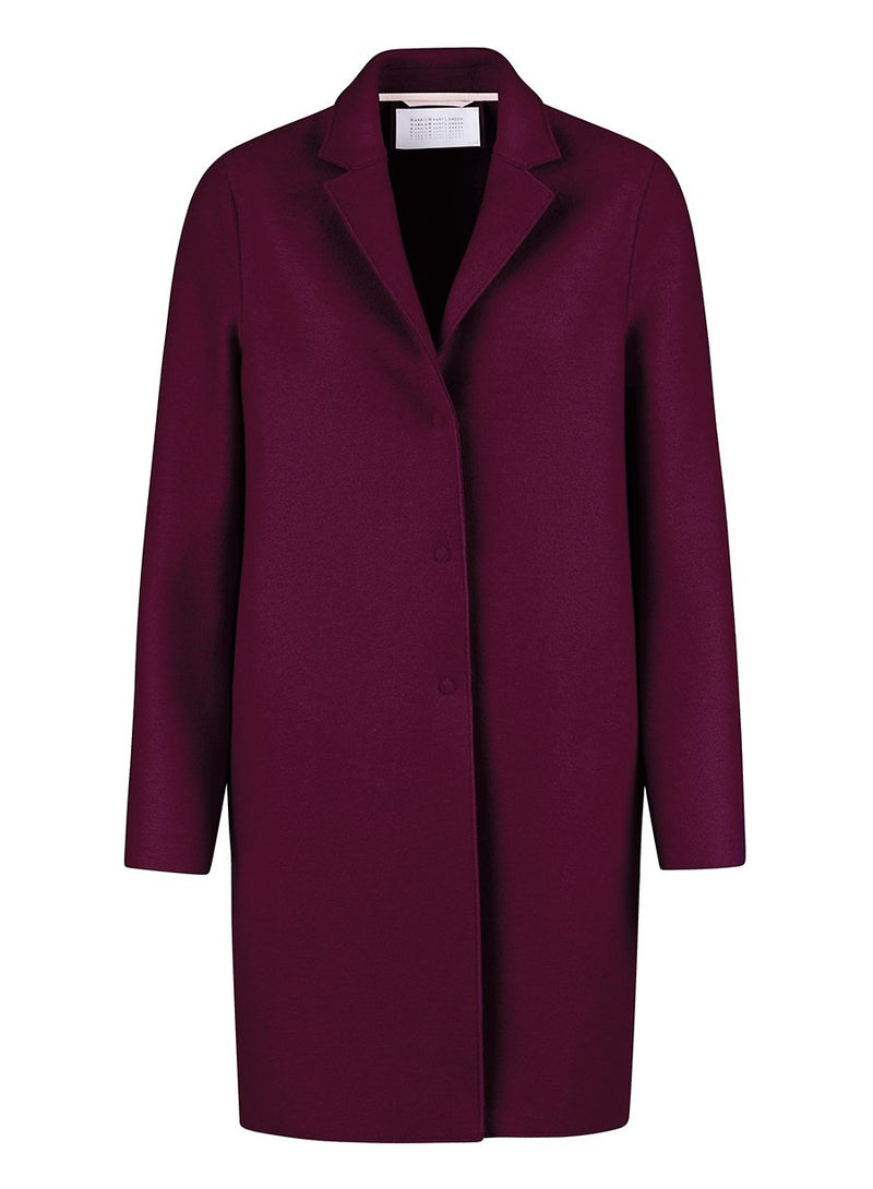 Harris Wharf Cocoon coat pressed wool berry
