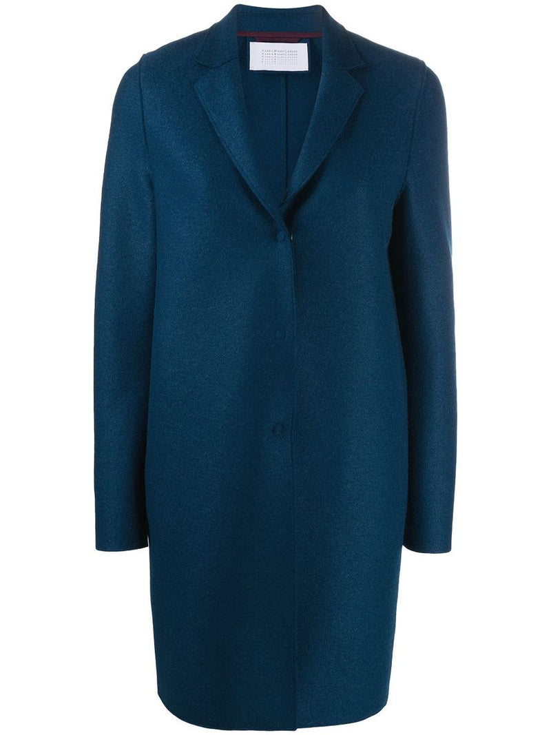 Harris Wharf Cocoon coat pressed wool prussian blue