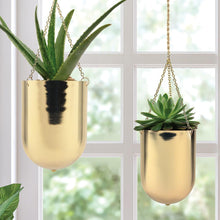 "Load image into Gallery viewer, Gold Hanging Planter 6"", 8"" - Lucia Gardens"