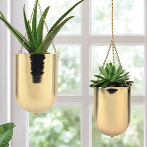 "Gold Hanging Planter 6"", 8"" - Lucia Gardens"
