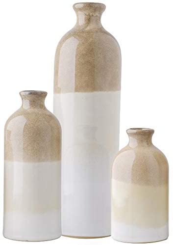 Ceramic Rustic Vase for Home Decor, Set of 3 Glazed Brown and White - Lucia Gardens