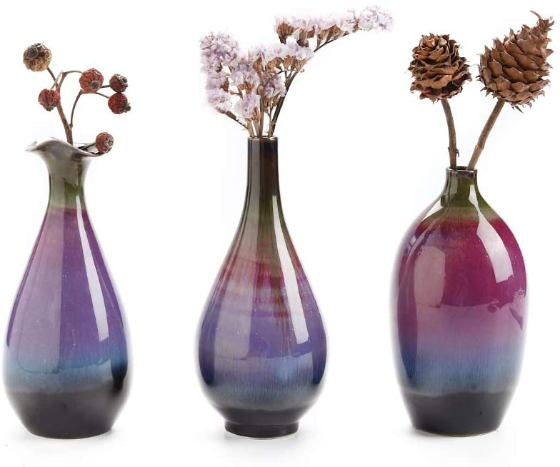 Ceramic Flower Vase Set of 3, Special Design Style of Fuchsia, Smooth and Bright Glaze - Lucia Gardens