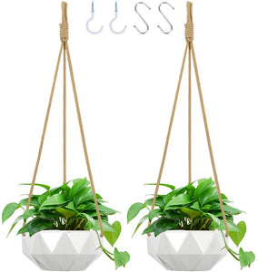 "Ceramic Geometric Hanging Planter With Hooks - 8"" Set of 2 - Lucia Gardens"