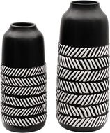Ceramic Black Vase, Set of 2 Rustic Tribal - Lucia Gardens