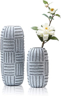 Rustic Ceramic Flower Vases Set of 2, Tribal Hand Painting - Lucia Gardens