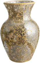 "Load image into Gallery viewer, Mosaic Glass Vase 7"" (Gold or Blue) - Lucia Gardens"