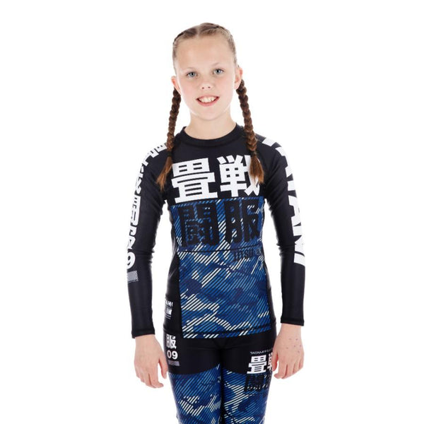 Tatami Kids Essential Camo Long Sleeve Rash Guard - Blue