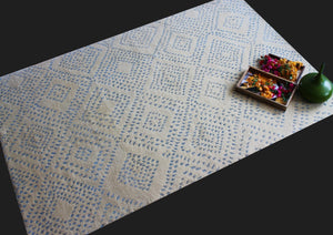 Amal Blue | Micro Elements | 30 Knots Hand-knotted with Serdanian Wool & Tencel | 5' x 8'
