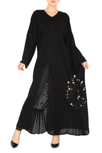 Button Leaf Abaya