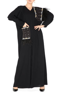 Feather Detailed Pocket Abaya