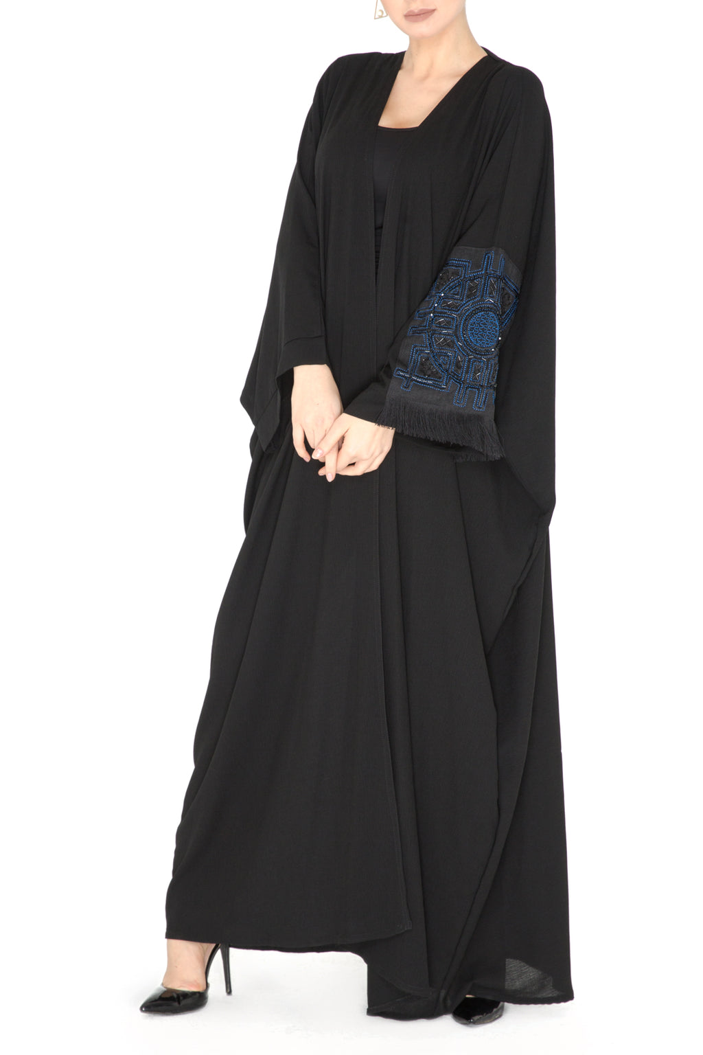 Embroidered Tassel Patch Abaya