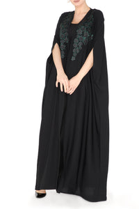 Floral Embroidered Cape Abaya