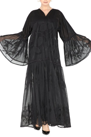 Floral Lace Detail Abaya