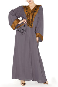 Bronze Trim Embroidery Abaya