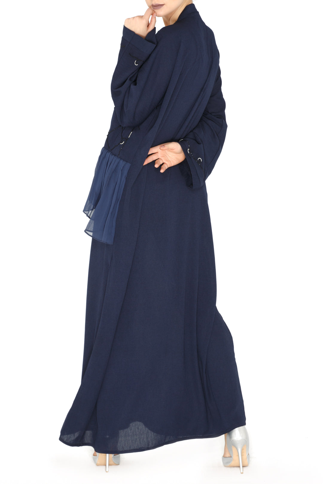 Blue Frill Pleated Abaya