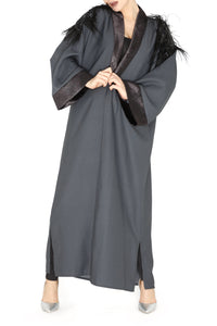 Shoulder Feather Detail Grey Abaya