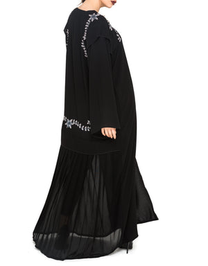 Embroidered Shoulder Flap Abaya